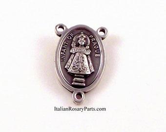 Infant of Prague Holy Heart of Jesus Rosary Center Medal | Italian Rosary Parts