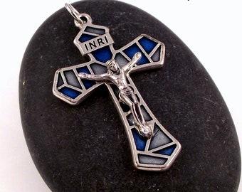Stained Glass Style Rosary Crucifix Pendant From Italy Blue   Italian Rosary Parts