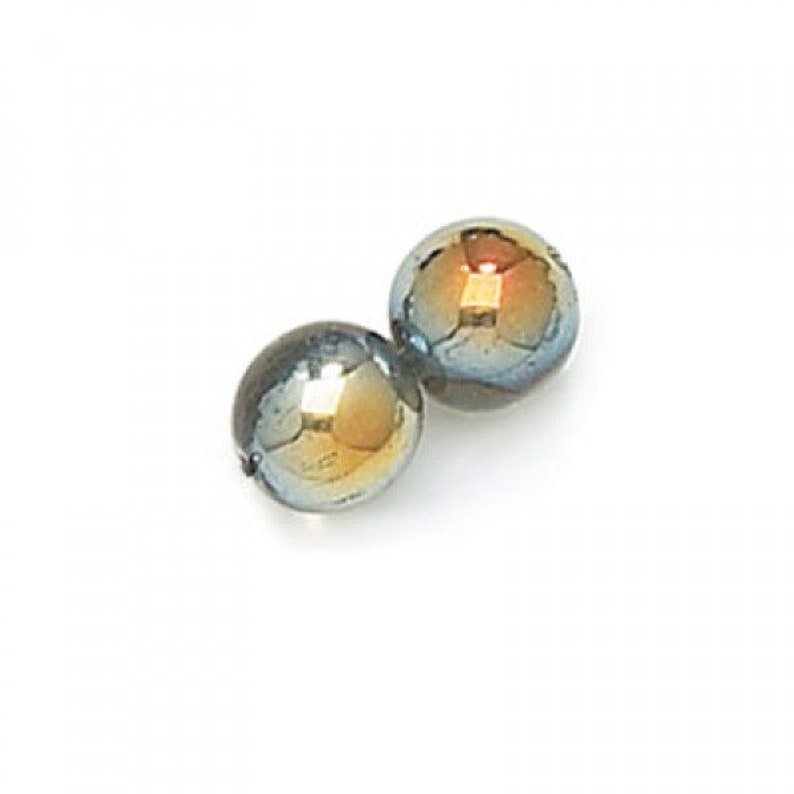 Czech Glass Beads 6mm Black Diamond Gold Marea Finish Smooth image 0