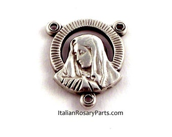 Mother of Sorrows Sacred Heart Rosary Center Medal Joiner Junction | Italian Rosary Parts