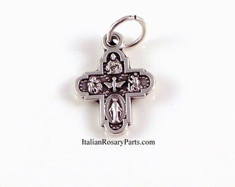 Small Four Way Cross Miraculous Medal, Holy Spirit, Sacred Heart, Saint Anthony| Italian Rosary Parts