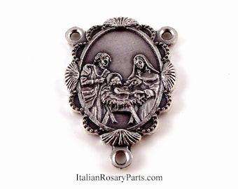 Holy Family Manger Scene Rosary Center Medal In Scalloped Frame | Italian Rosary Parts
