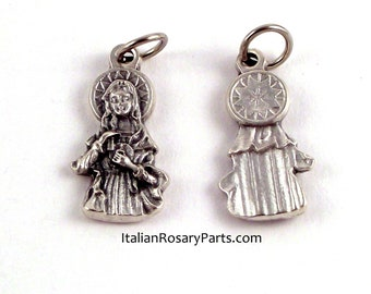 Immaculate Heart of The Virgin Mary Bracelet Medal Rosary Charm   Italian Rosary Parts