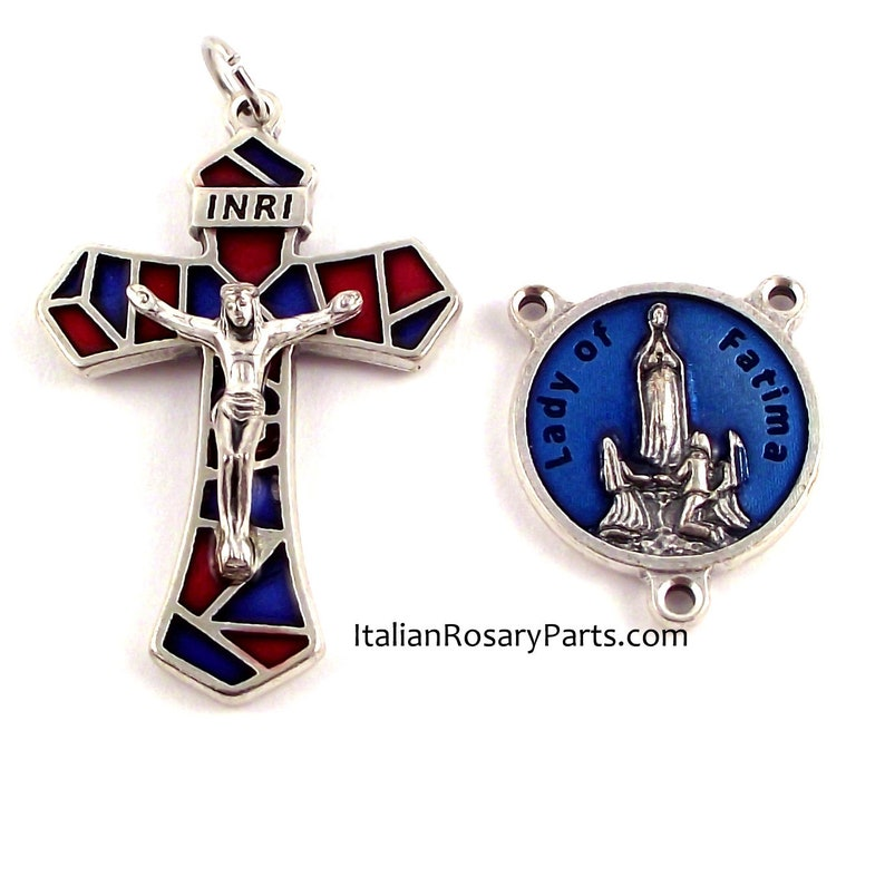 Stained Glass Style Blue and Red Rosary Crucifix and Virgin of image 0