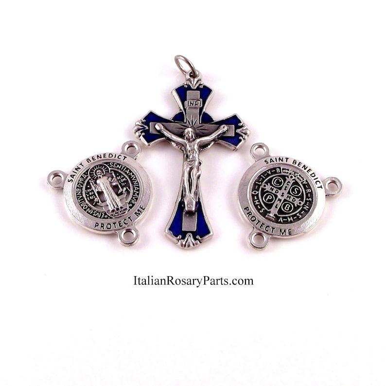 Saint Benedict Protect Us Blue Enamel Rosary Crucifix and image 0