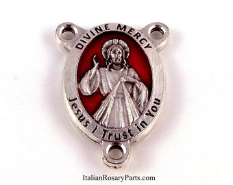 Divine Mercy of Jesus Rosary Center Medal With Red Enamel Background Pray For Us  Italian Rosary Parts