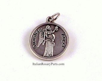 Italian Rosary Parts | Guardian Angel Religious Medal Angel of God My Guardian Dear