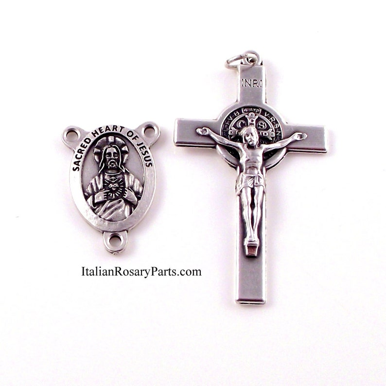 Sacred Heart Rosary Medal and St Benedict Crucifix Set  image 0