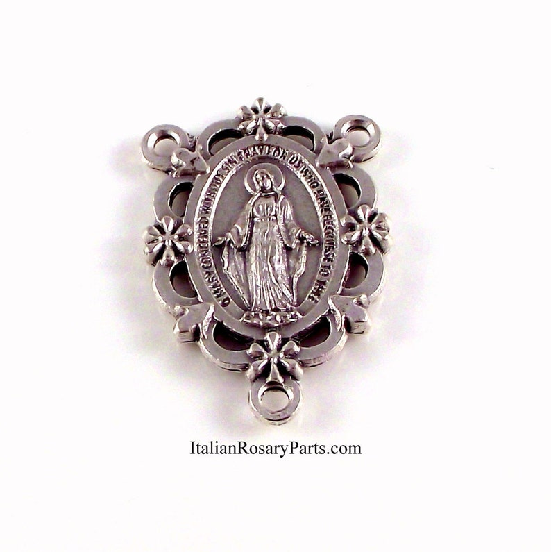 Miraculous Medal Rosary Center Set In Frame of Flowers  image 0