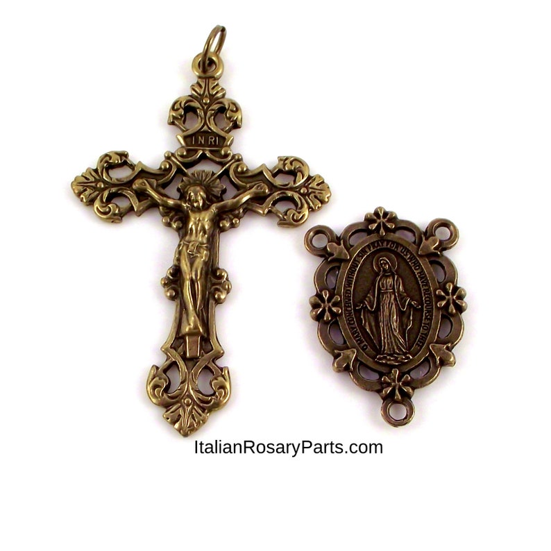 Bronze Rosary Center and Crucifix Set Miraculous Medal with image 0