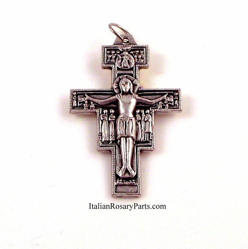 San Damiano Italian Rosary Crucifix with Latin Prayer on Back image 0