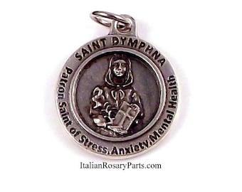 St Dymphna Medal Patron Saint of Stress, Anxiety and Mental Health | Italian Rosary Parts