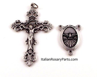 Holy Spirit Rosary Center and Fleur-de-Lis Crucifix Medal Set   Italian Rosary Parts