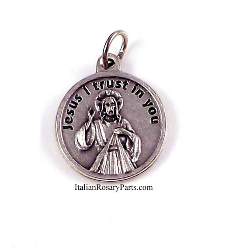 Divine Mercy of Jesus Medal With Prayer  Italian Rosary Parts image 0