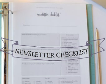 Newsletter Checklist - Newsletter planning sheet - Blogging checklist - Blog planning sheets