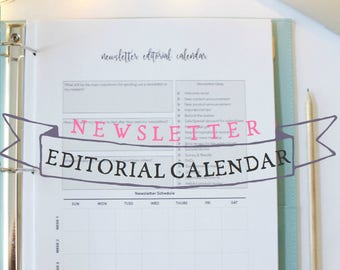 Newsletter Editorial Calendar - Blog Newsletter Planner - Blog Planner - Blog Planning Sheets