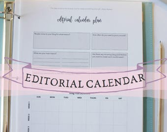 Blogging Editorial Calendar - blog editorial planner - blog planning sheet - editorial calendar