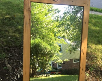 Wood Mirror, Handmade Natural Wood Mirror