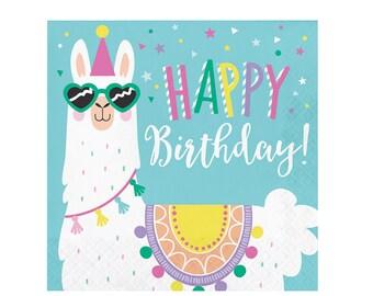 Llama Birthday Party Napkins