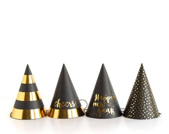 New Years Eve Party Hats | Happy New Year NYE 2019 New Years Hats Black and Gold NYE Party NYE Decor Party Hats for New Years Eve Gold Foil