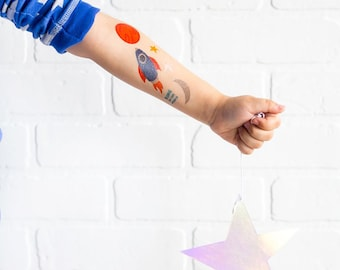 8ec58a9c0 Space Rocket Tattoos | Space Birthday Party Favor Galaxy Theme Birthday  Little Astronaut Tat Kid Friendly Temporary Tattoo Outer Space