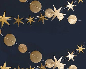 Gold Star Garland | New Years Eve Decorations - Gold Garland - New Years Eve Party Decor - Gatsby Party - NYE Decor - Gold Starburst Decor