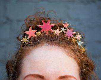 Black gold star crown Celestial headpiece Christmas glitter stars headband