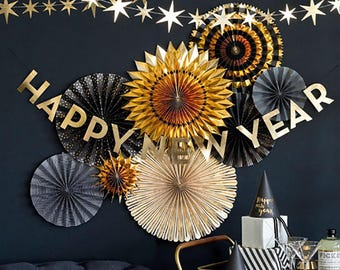 New Years Eve Banner | Happy New Year Banner   New Years Eve Party   Gold  Foil New Years Eve Decorations 2019  NYE Decor   NYE Party