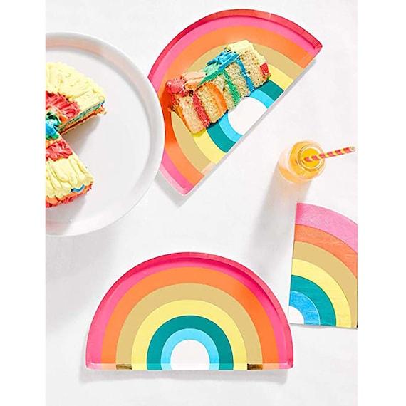 Pastel Rainbow Party Plates Rainbow Party Supplies Rainbow Baby Shower Rainbow Birthday Decorations 8 Pastel Rainbow Paper Plates