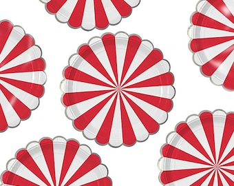 Christmas Paper Plates Holiday Party Christmas Party Paper Plates Peppermint Candy Plates Red and White Candyland Party Small 7 inch  sc 1 st  Etsy Studio : peppermint paper plates - pezcame.com
