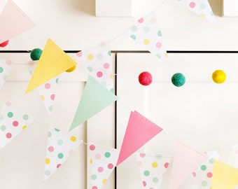 Pastel Party Pennant Banner   Pastel Party Decor Vellum Mini Flags Party Banner Pastel Birthday Baby Shower Bridal Shower Bunting Flags HRP