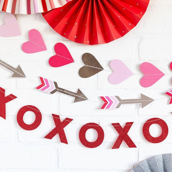 Valentines Day Decoration Garlands Hearts Xoxo And Arrows Etsy