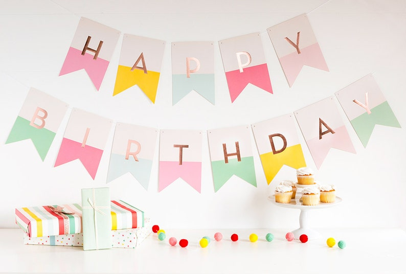 Happy Birthday Banner  First Birthday Party Pastel Birthday image 0