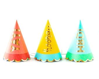 Birthday Party Hats -9 | Happy Birthday Hats - HBD - Yay - Hooray - Rainbow Pastel Birthday Party Cone Hat - Girl Boy Adult Photo Prop - HRP