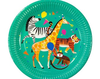 Jungle Party Plates -Large | Safari Birthday Zoo Animal Party Wild One Birthday Jungle Themed Party Paper Plates Zebra Tiger Giraffe Monkey  sc 1 st  Etsy & Giraffe plates | Etsy