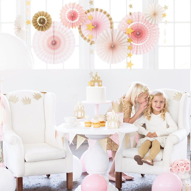 Pink Princess Rosette Backdrop | Pink and Gold Paper Rosette Pink Paper Fan Twinkle Twinkle Little Star Baby Shower Pink 1st Birthday Party