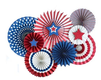 Patriotic Party Paper Pinwheel Fans | 4th of July Party Red White and Blue Party Decor Paper Rosette Backdrop Memorial Day Pinwheel Backdrop