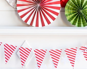 Candy Stripe Pennant Banner   Christmas Candy Cane Stripped Mini Pennants Holiday Garland Red Holiday Party Decor Christmas Paper Garland