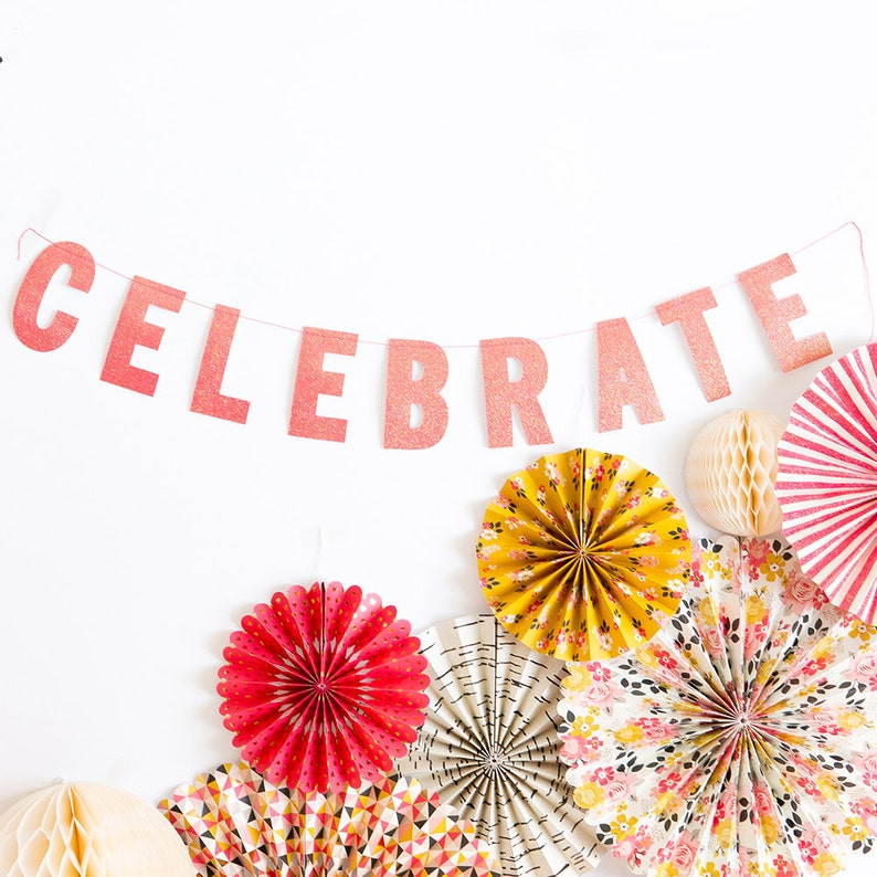 Celebrate Party Banner | Pink Glitter Party Banner Pink Birthday Party  Celebrate Sign Wedding Banner Graduation Party Quince Sweet 16 MSP