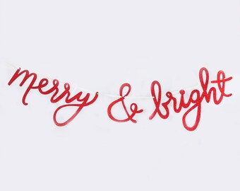 Merry and Bright Banner | Christmas Banner Christmas Decor Christmas Decoration Holiday Banner Christmas Photo Sign Holiday Photo Prop Red