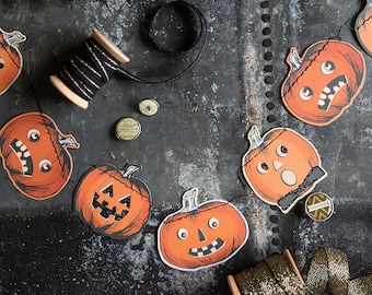 n Pumpkin Garland | Halloween Decorations Jack O Lantern Mini Pumpkin Banner Vintage Halloween Mantel Decor Inside Halloween Home Decor
