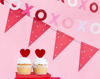 Valentines Day Decor Set | Valentine XOXO Pennant Banner Set Valentine's Day Pink Red XO Paper Garland Pink Red Silver Hearts Hugs Kisses