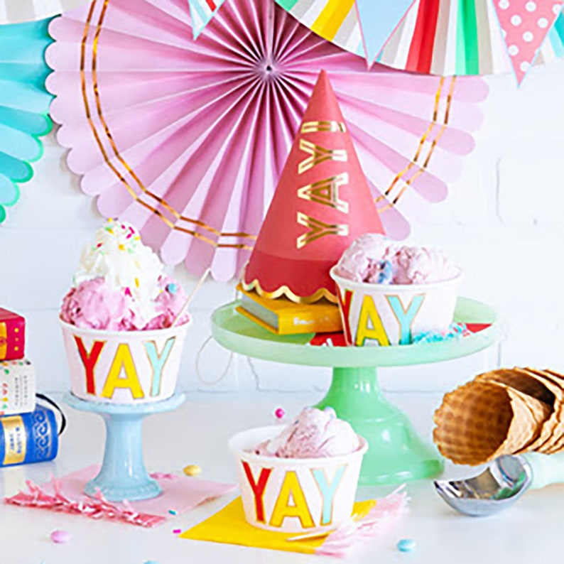 Ice Cream Cups Wooden Spoons 12 Party Yay
