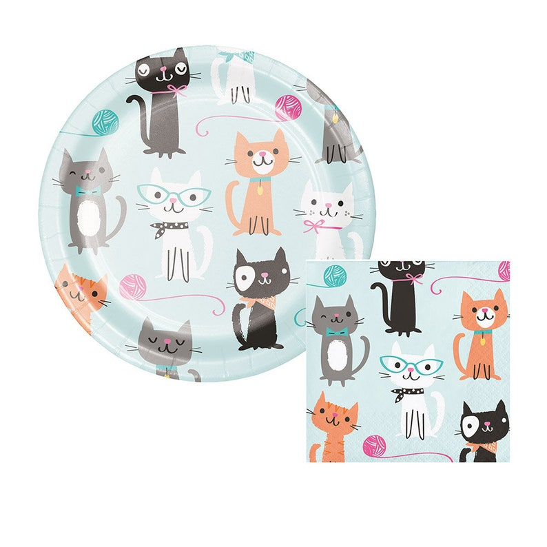 Napkins Plates Cups Meow Party Kitten Cat Kitty Pink Girls Birthday Tableware