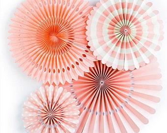 Pink Coral Pinwheel Fans | Coral Pink Pinwheel Backdrop Paper Pinwheel Fans Coral Bridal Shower Coral Wedding Backdrop Coral Party Decor