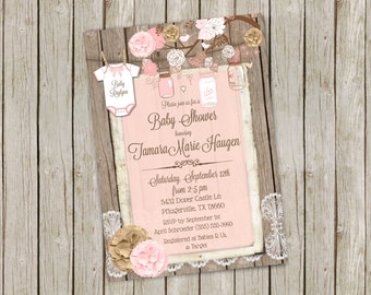 Pink Mason Jar Baby Shower Invitation – printable 5x7