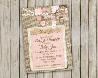 Pink Mason Jar and Burlap Baby Shower Invitation – printable 5x7