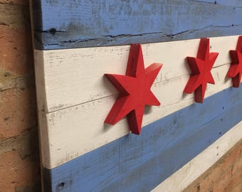LargeReclaimed Wood Rustic Chicago Flag