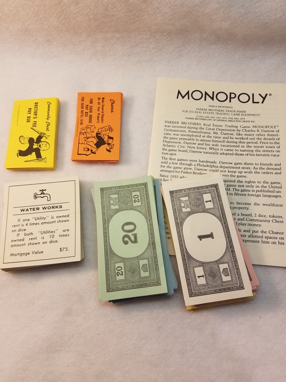 Monopoly Game Property Cards Chance Cards Community Chest Cards Money And Instuctions For Upcycled Art Projects Mixed Media Etc