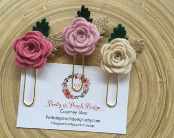 Pink trio rose paperclips